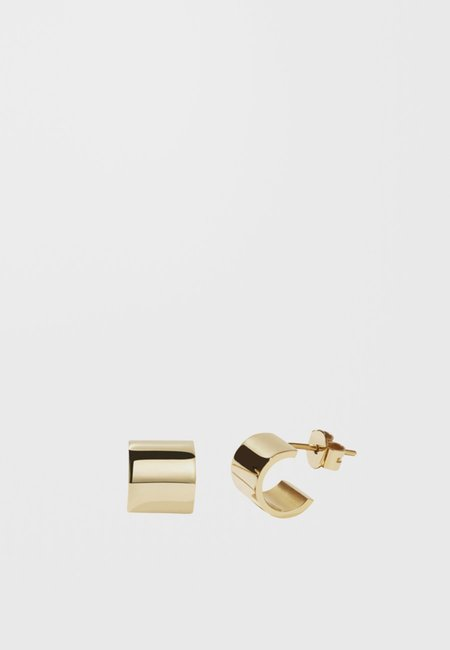 hidden Cuff Stud Earrings - gold