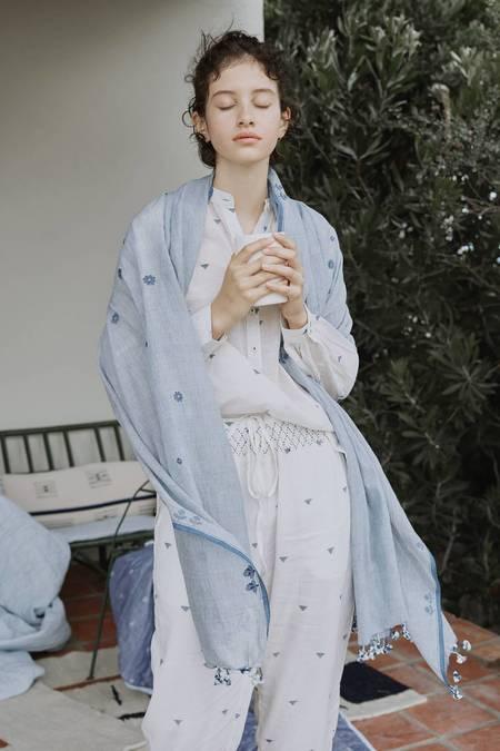 Karu Pointe Pants Cotton Jamdani Weave - Ivory