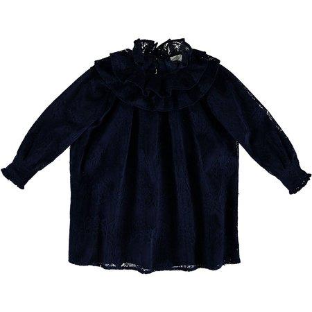 Kids caroline bosmans floral flock blue dress