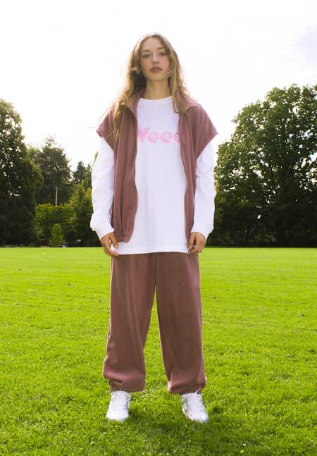 unisex folk fortune Eco fleece High Waisted Pants - Rose Mauve