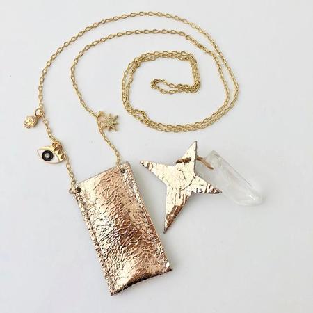 kids atsuyo et akiko amulet crystal necklace - distress rose