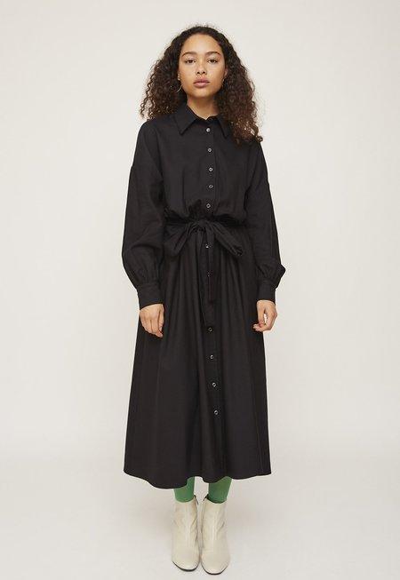 Rita Row Classic Collar Tie Waist Dress - Black