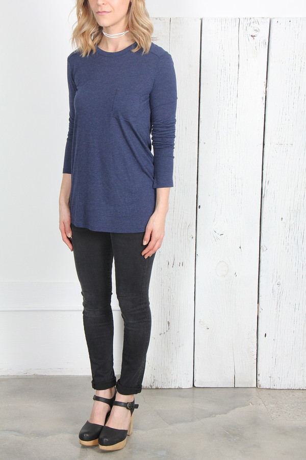 T By Alexander Wang CLASSIC LONG SLEEVE TEE - MARITIME