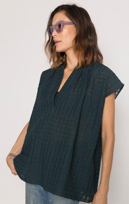 Two Khadi Grid Shirt - Hunter Green