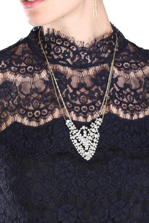 Serefina Jeweled Lace Emblem Necklace