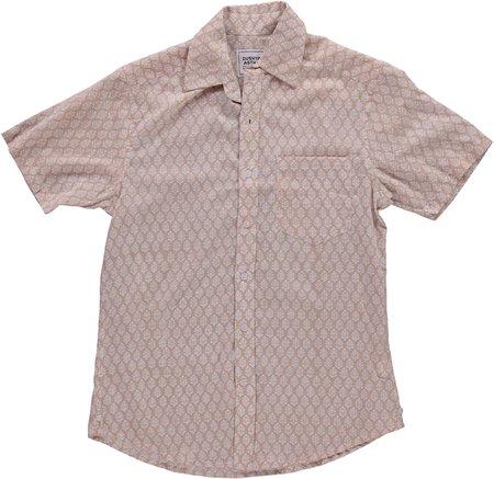 Dushyant Asthana Hand Printed The Folk Short Sleeve Shirt - Leaf/Light Brown Print