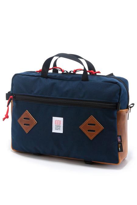 Topo Mountain Briefcase Navy Leather
