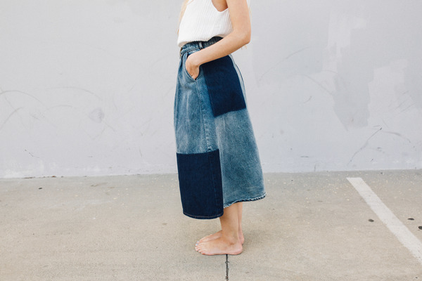 Objects Without Meaning Denim Patch Skirt, Blue