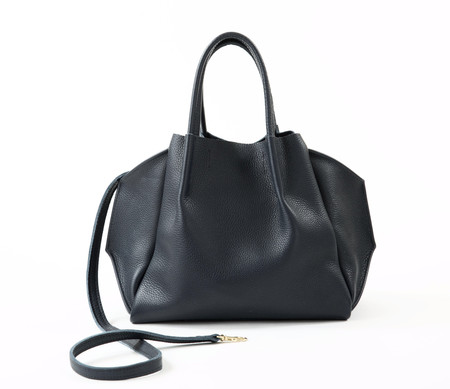 Oliveve Zoe Pebble Cow Leather Tote - Black