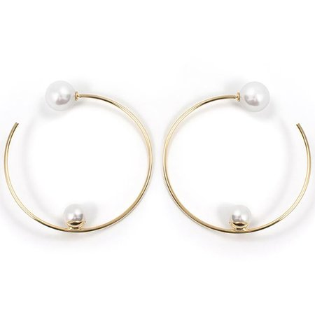 Joomi Lim Large Hoop Earrings with Affixed Pearls & Pearl Backs - Gold / White