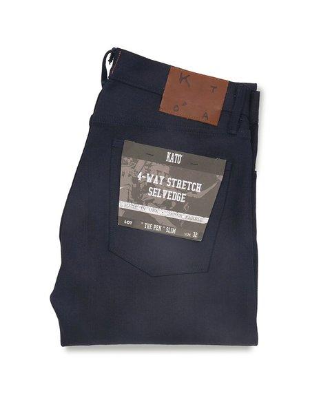 KATO The Pen Slim Raw Stretch Selvedge Jeans - Indigo/Black