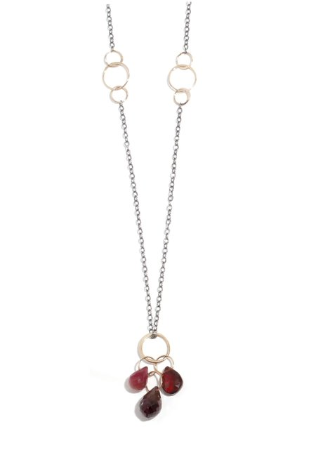 Melissa Joy Manning Garnet, Ruby and Garnet Three Drop Pendant Necklace - 14k Gold/Sterling Silver