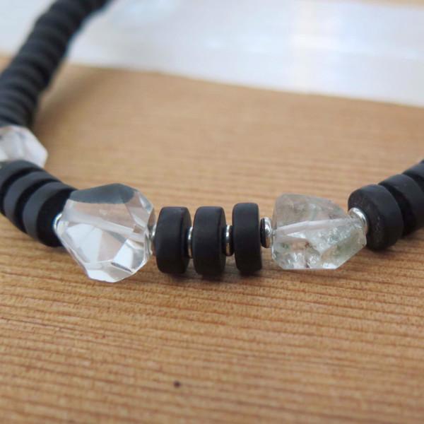 RHINO Long sea glass necklace w/ quartz