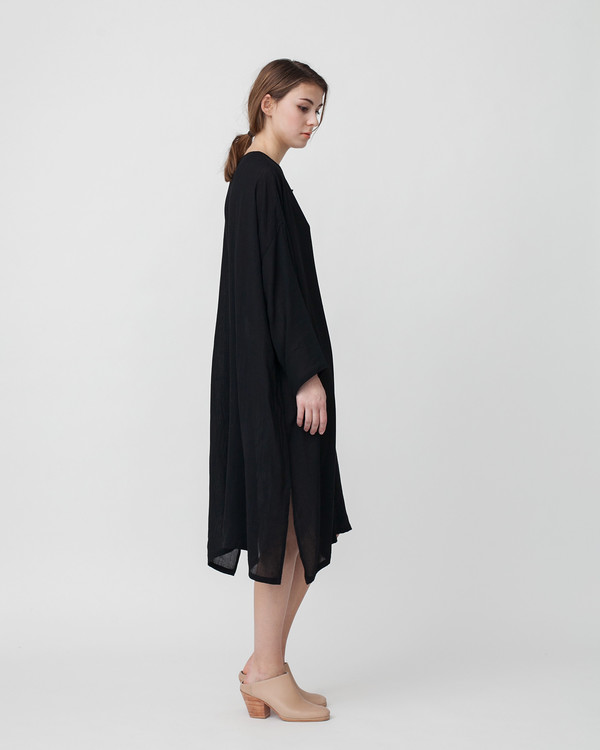 Revisited Matters Crushed Cotton Shirtdress in Black