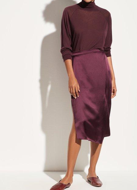 Vince Satin Drape Panel Skirt - Dahlia Wine