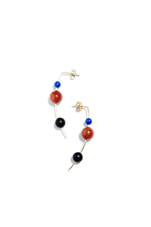 Mau Lapis/Goldstone Orion Drop Earring