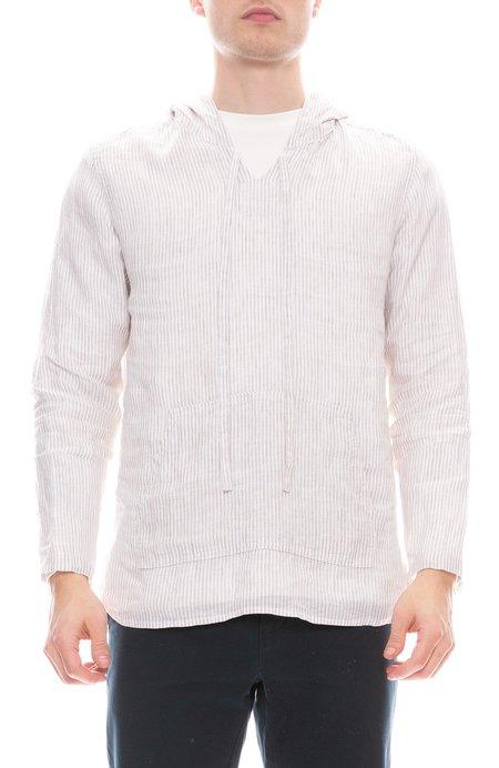 A Vested Interest Linen Poncho Shirt - Sand Stripe
