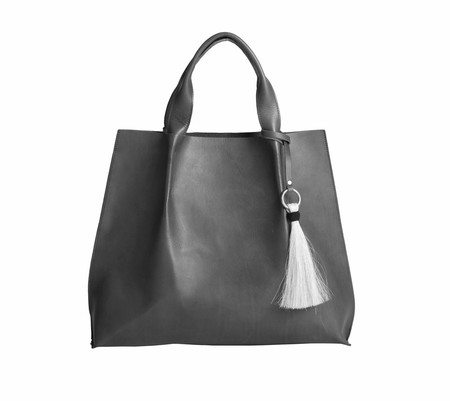 OLIVEVE maggie tote in black saddle leather with horsehair tassel