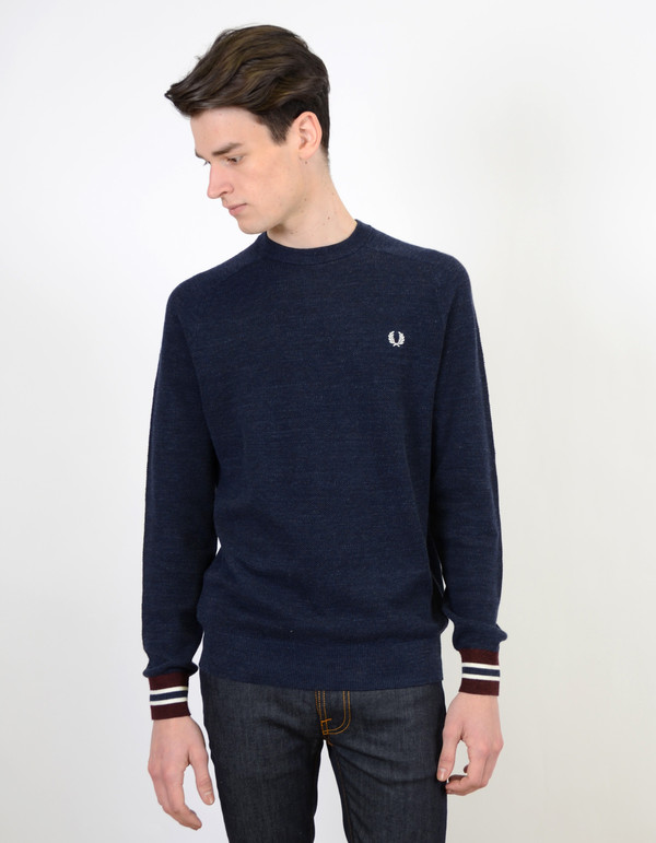 Men's Fred Perry Textured Pique Crew Neck Navy Marl