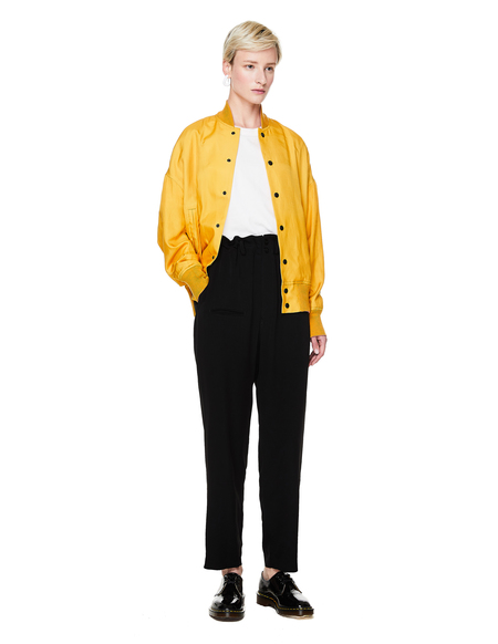 Y's Yellow Silk Printed Bomber Jacket