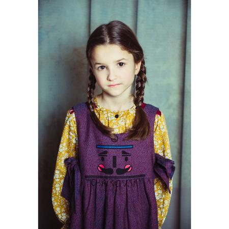 Kids paade mode cotton anne blue with custom print dress - Plum