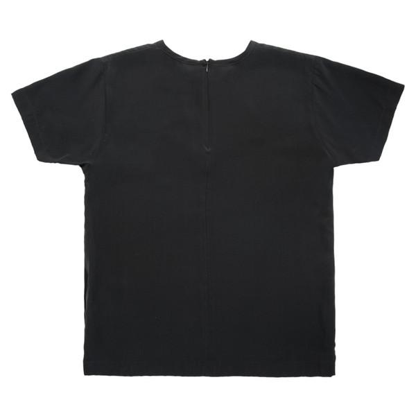 White T-Shirt in Black Silk