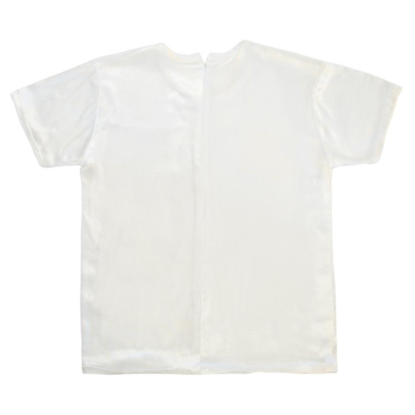 White T-Shirt in Panne Velvet