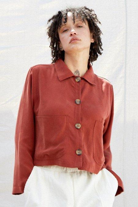 back beat rags Tencel Cropped Shirt Jacket - Redwood