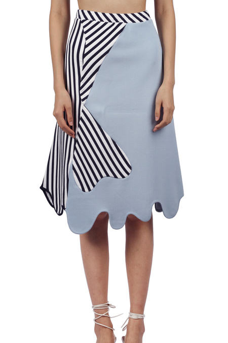 PH5 Anvil Colorblocked Midi Skirt - Blue Multi