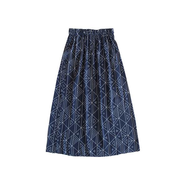 Ali Golden Rayon Midi Skirt - Navy Print