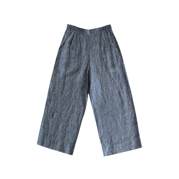 Ali Golden Linen Wide-Leg Pant - Grey