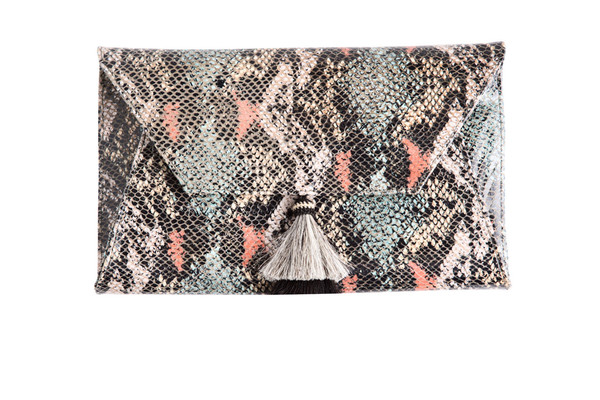 Oliveve Cleo Envelope Clutch In Coral Cobra Embossed Cow Leather with horsehair tassel