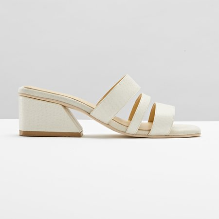 Mesa Shoes Hayes Three Strap Mule - Cream Ostrich