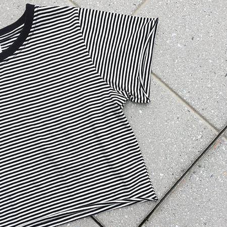 Rue Stiic - B&W Striped Cropped Tee