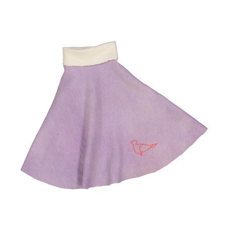Kids Petit Mioche Organic Embroidered Merino Wool Skirt - Dove