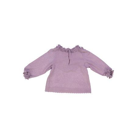 Kids Petit Mioche ruffle blouse w/ long sleeve - Purple