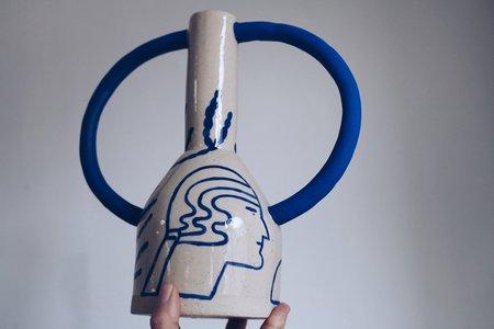 Sophie Alda Large Jug Eared Vase - Cream/Blue