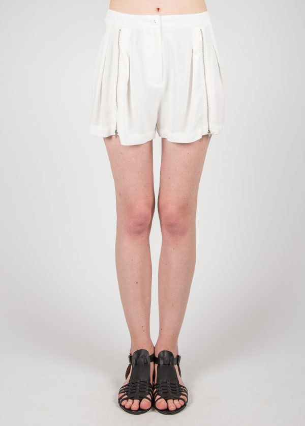 Something Else - Zippered Front Short in Ivory