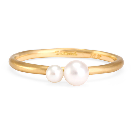 18K Married Double Pearl Ring  by Satomi Kawakita