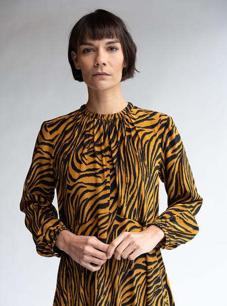 No.6 Silk Luna Dress - Tobacco Zebra