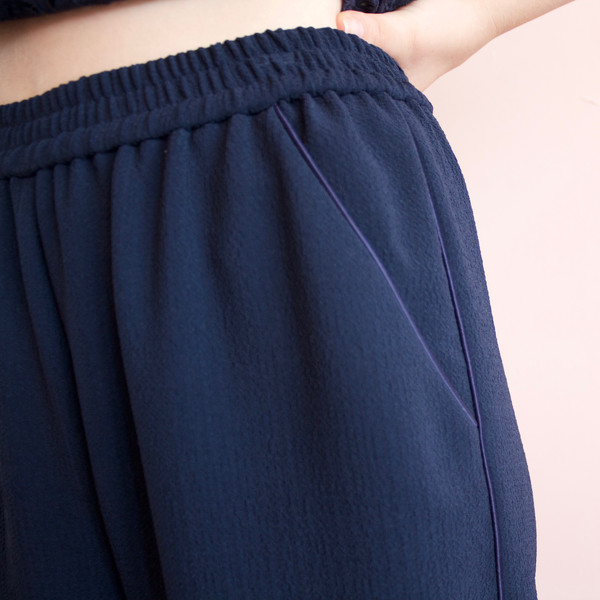 Svilu crepe cropped pants