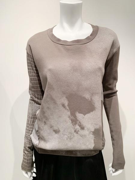 Ilaria Nistri Italian cotton sweatshirt with print - TABACCO