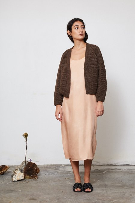 OUND HAND KNITTED WOOL CARDIGAN - EARTH
