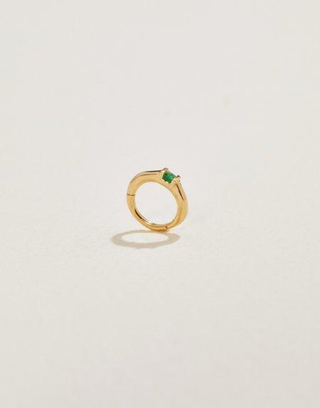 Pamela Love 8mm Floating Square Emerald Huggie