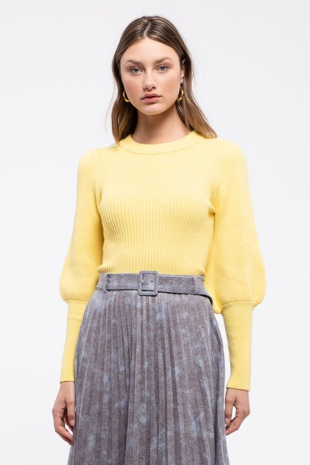 Moon River Puff Sleeve Sweater - Yellow