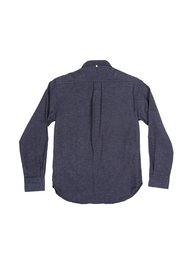 The Hill-Side - Brushed Mini Herringbone Button Down in Navy