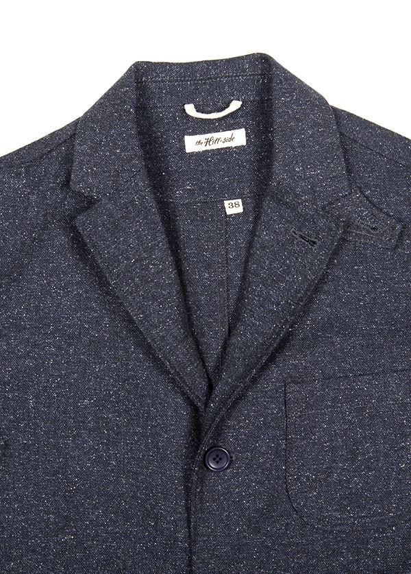 The Hill-Side - Cotton Herringbone Tweed Tailored Jacket, Navy