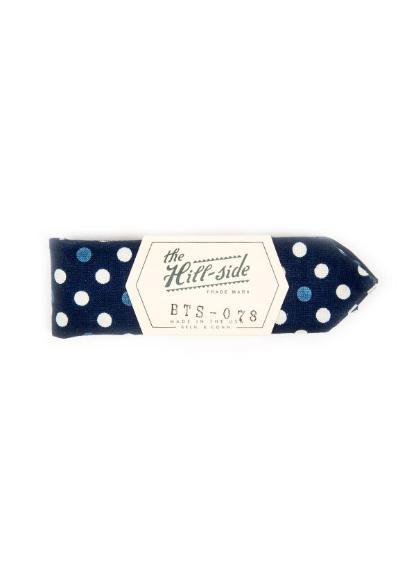 The Hill-Side - Polka Dot Half and Full-Discharge Print Bow Tie in Indigo / White