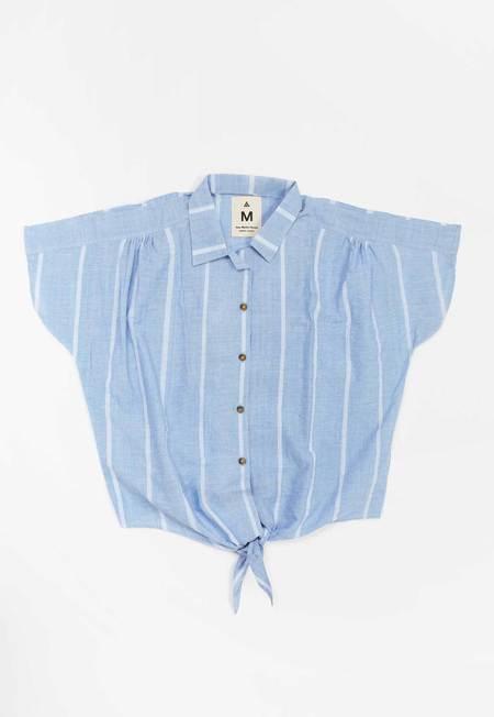 New Market Goods Lungi Front Tie Shirt - Blue