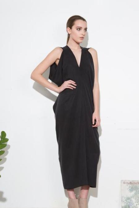H. Fredriksson LONG STINA DRESS - BLACK